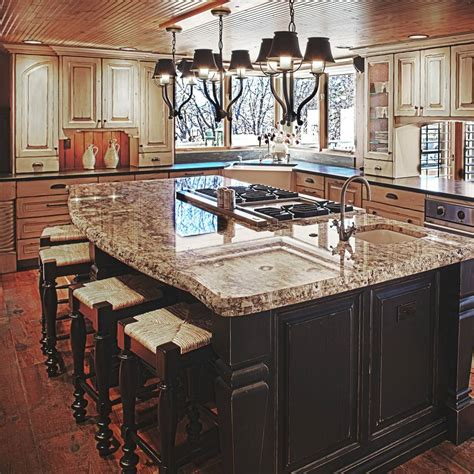 kitchen island with stove and sink colorado rustic kitchen gallery jm kitchen denver
