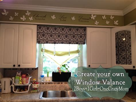 How To Make Your Own Kitchen Curtains Make Your Own Diy Window Valance In No Time An No Sew 2 Boys 1 One