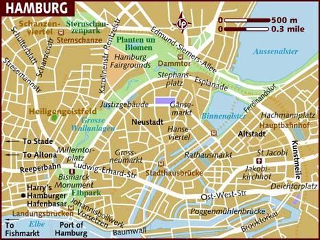 hamburg kart map of hamburg