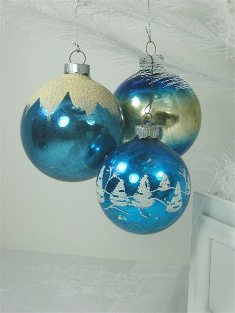 vintage mercury glass ornaments blue w glitter christmas tree