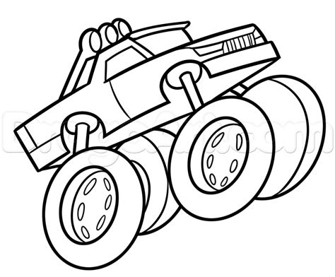 monster trucks drawings drawing a monster truck easy step by step trucks