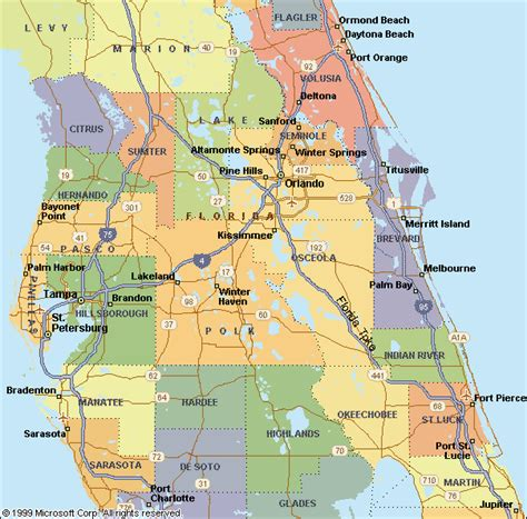 map of the central florida area
