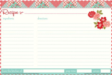 6 Best Images Of Cute Printable Recipe Cards Strawberry | 15 free recipe cards printables templates and binder inserts