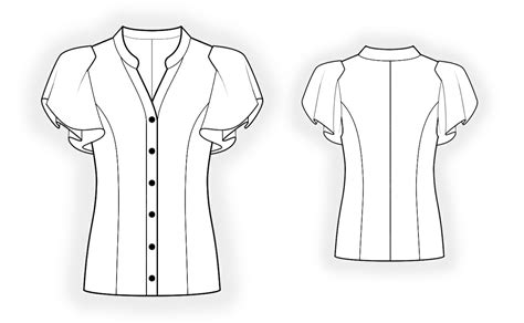 Drawing Blouse blouse sewing pattern 4370 made to measure sewing pattern from lekala with free