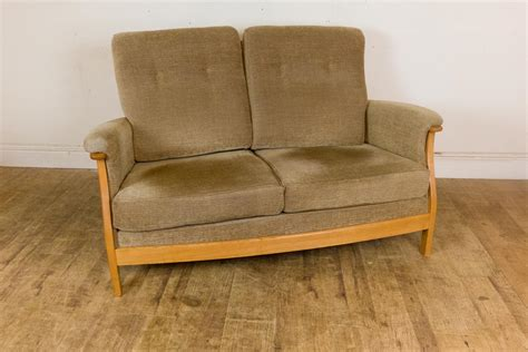 Vintage Retro Ercol Saville 2 Seater Sofa Blonde Light