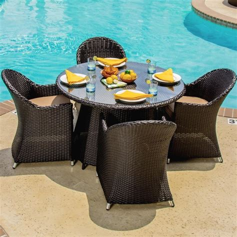 resin wicker patio dining sets providence 4 person resin wicker patio dining set modern