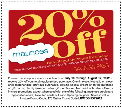 maurices outlet printable coupons maurices com 20 off printable coupon