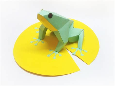 Frog With Paper - diy paper model of frog sitting on leaf instant digital