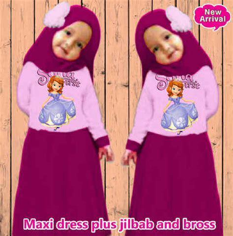 Dress Katun Anak Anak Lengan Panjang Plus Bando koleksi baju gamis anak sofia kid a290 lucu dan imut