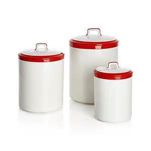 red kitchen canisters baker red and white kitchen canisters crate and barrel