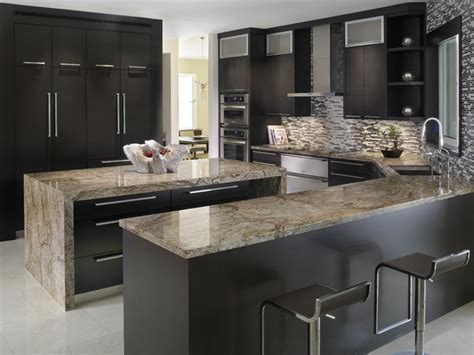 Modern Luxury Kitchen With Granite Countertop Kitchen With Tiberius Gold Granite Countertops Contemporary Kitchen Miami By