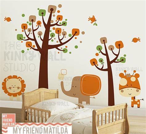 Nursery Safari Wall Decals Children Wall Decal Wall Sticker Tree Decal Safari Animals Kk130 Removable Wall Decals