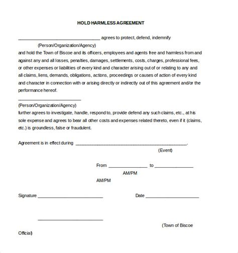 agreement document template 9 hold harmless agreement templates free sle exle