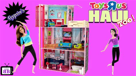 barbie doll house toys r us toys r us barbie made to move dollhouse toy haul youtube