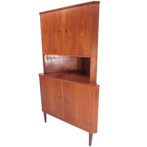 mid century corner cabinet mid century modern teak corner cabinet for sale at