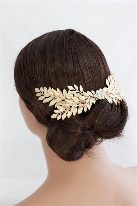 Hair Comb Sisir Rambut 3 grecian headpiece large leaf gold leaves back comb laurel hair comb matt gold wedding