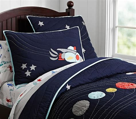 space bedding eric space quilted bedding pottery barn kids