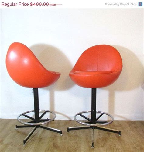 orange bar stools for sale retro orange barstool pair egg shaped chair bar stools