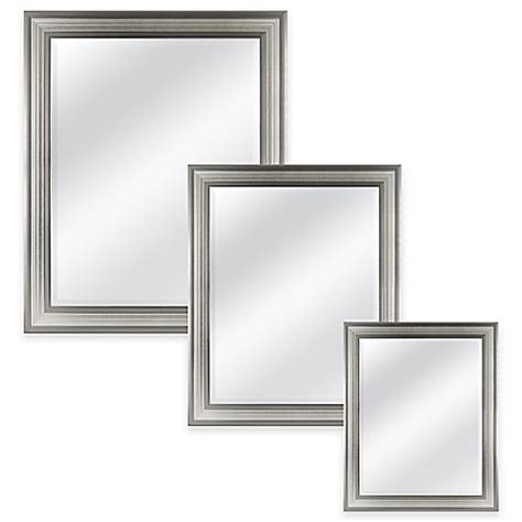 silver bathroom mirror rectangular mason rectangular mirror in silver bed bath beyond