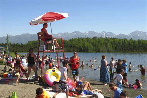 Anchorage Records In This Photo Taken On Monday Swim And Sunbathe At Goose Lake In Anchorage