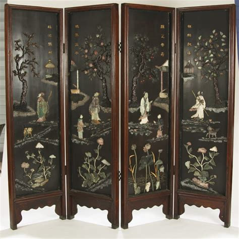 asian room dividers room divider 4 panel screen with high relief carved and polished jade hardstone and