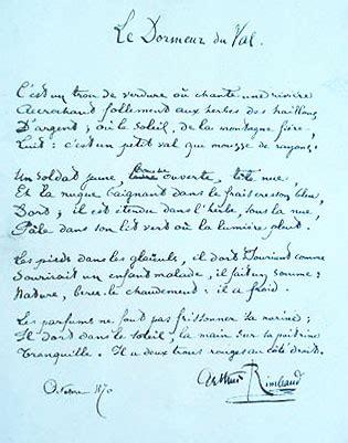 Commentaire Dormeur Du Val by Le Dormeur Du Val Arthur Rimbaud