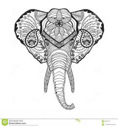 Elephant head adult antistress coloring page black white hand drawn