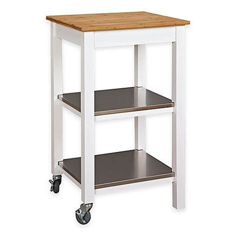 Kitchen Cart With Shelves by Kitchen Island Cart With Bamboo Top And Stainless Steel