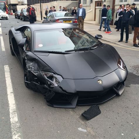 Lamborghini Aventador Crashes Matte Black Lamborghini Aventador Crashes In