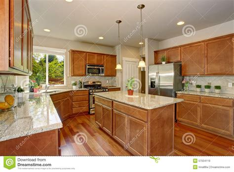 simple modern kitchen cabinets modern kitchen with simple wood cabinets stock photo