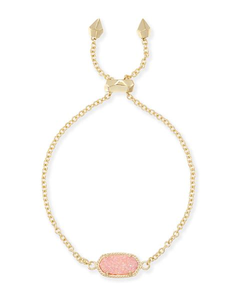 kendra light pink drusy elaina gold chain bracelet in light pink drusy kendra