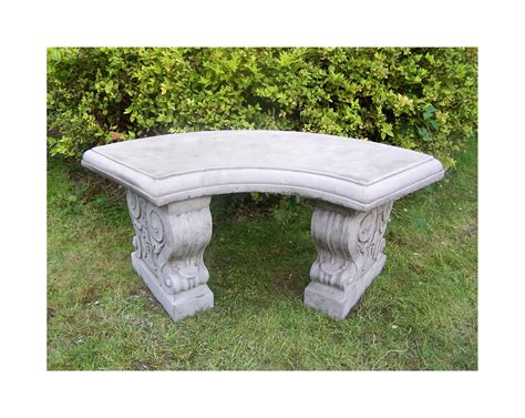 curved concrete bench large curved garden bench hand cast stone garden ornament