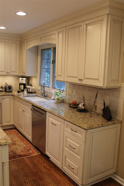 Cream Cabinets | new venetian gold granite kitchen traditional with granite