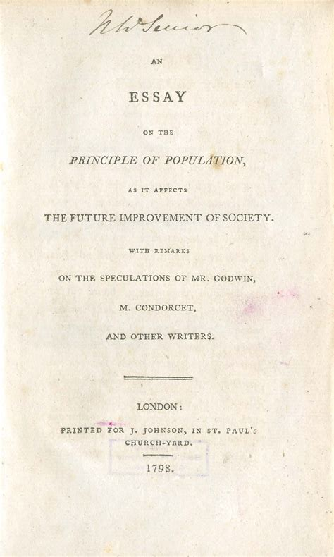 Essay On Population by Essays On The Principle Of Population Malthus An Essay On The Principle Of Population