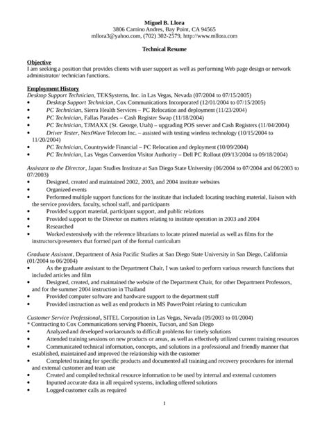 desktop support resume sle desktop support technician resume exle exles of