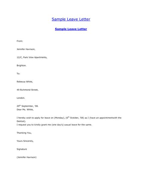 Leave Of Absence Letter Sle For Sle Leave Letter Format Best Template Collection