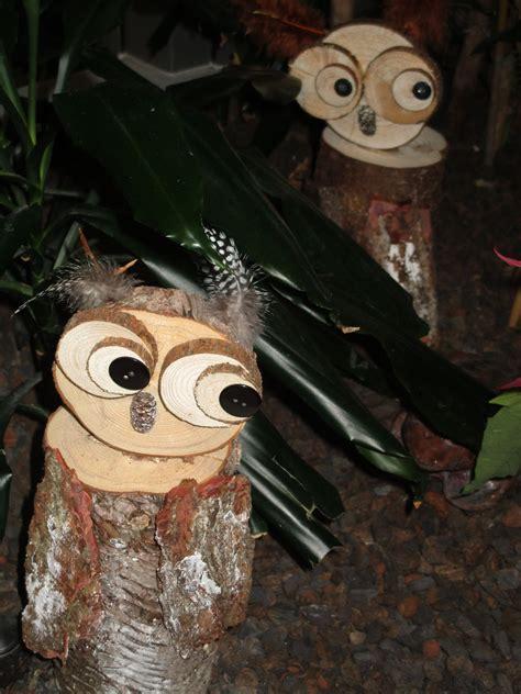 owls   logs wood slices  bark  cute diy