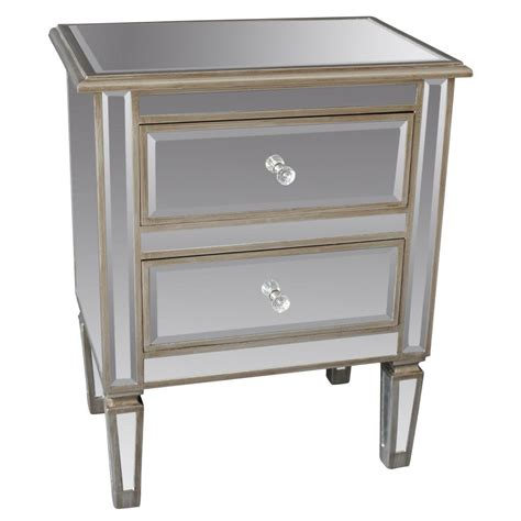 small mirrored accent table low mirrored accent table with 2 drawer and wooden frame