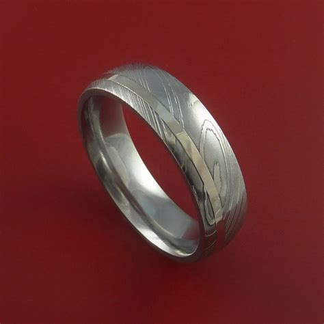damascus steel 14k white gold ring crafted wedding band