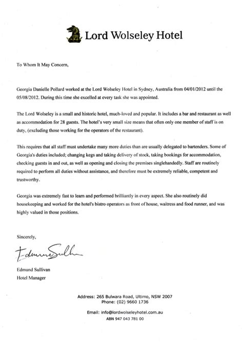 Recommendation Letter For Hotel Lord Wolosley Hotel Reference