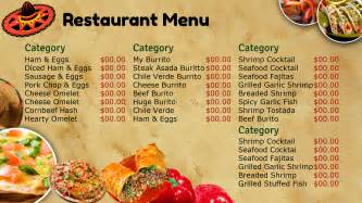 mexican menu template free best photos of mexican restaurant menu template blank