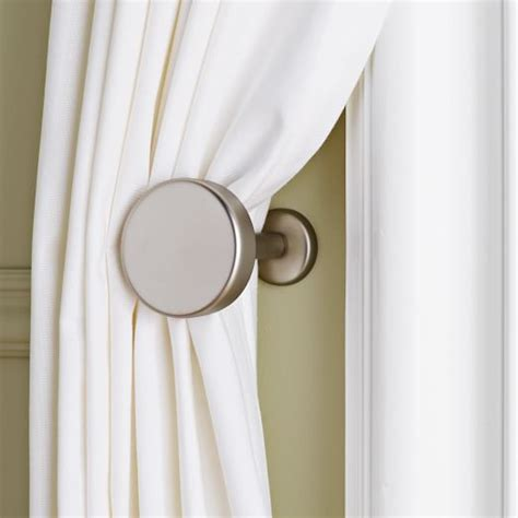 where to put holdbacks for curtains metal pin holdbacks west elm
