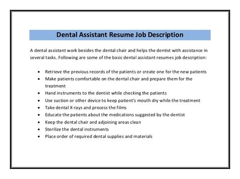 Responsibilities Of A Dentist by Dental Assistant Resume Sle Pdf