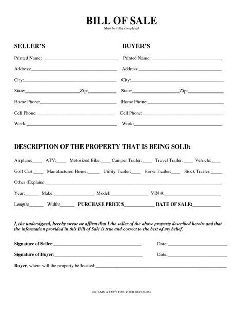 printable camper bill  sale form  form generic
