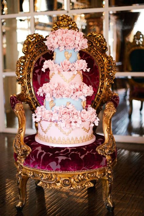 from elizabeth s cake emporium a blue and pink antoinette baroque vintage wedding cake