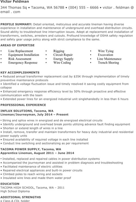 Lineman Resume by Lineman Resume Templates For Free Formtemplate