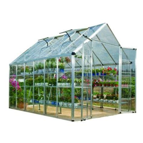 palram snap and grow 8 ft x 12 ft silver polycarbonate