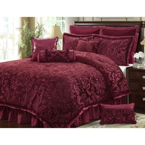 red floral comforter sets new full queen cal king bed wine red burgundy floral 10 pc