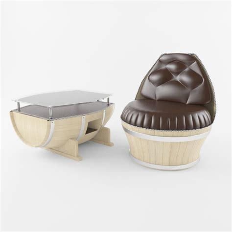 barrel table and chairs barrel table and chair 3d model max obj fbx cgtrader