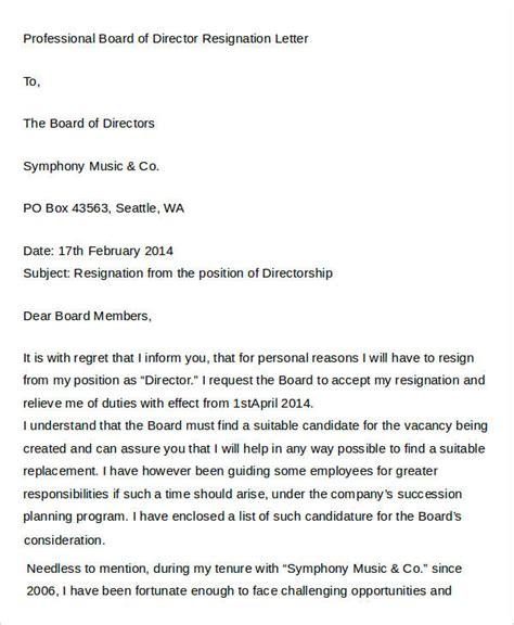 Board Of Directors Resignation Acceptance Letter director resignation letter templates 7 free pdf word format free premium